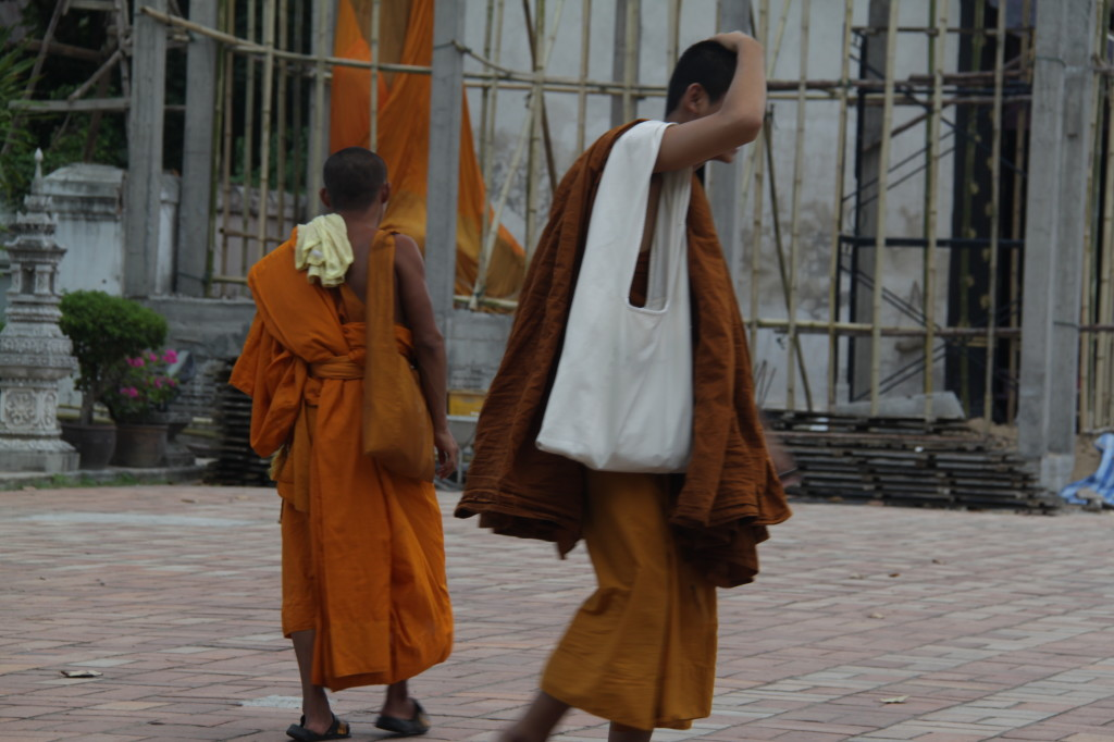 The bamboo scaffolding is making the monks a little nervous